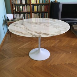 TULIPANO TABLE ROUND OR OVAL CALACATTA GOLD MARBLE